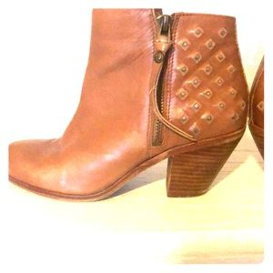 Distressed Sam Edelman camel booties